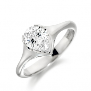 Palladium Pear Diamond Ring 1U10A