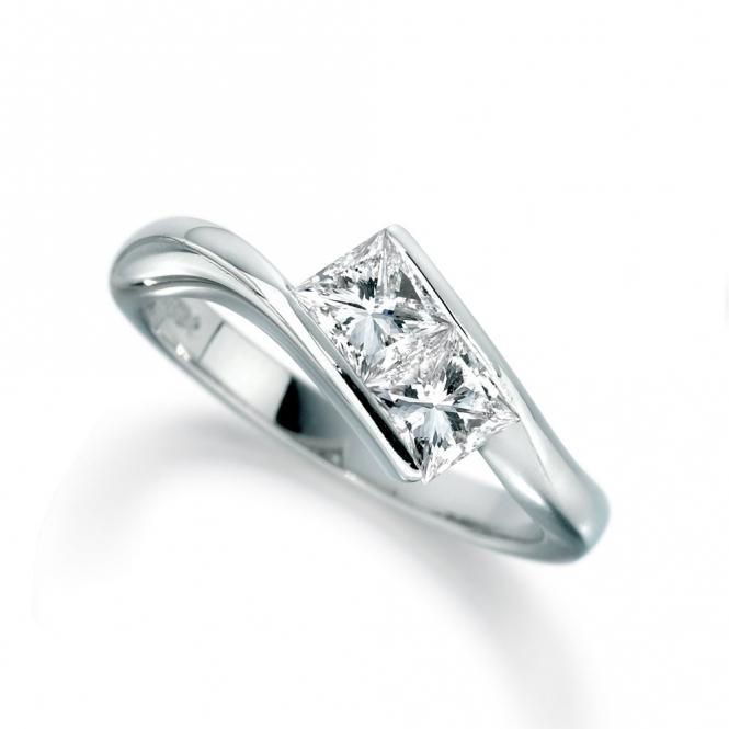 Palladium Princess Cut Diamond Two Stone Ring 1T42A