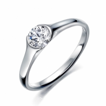Palladium Single Round Brilliant Cut Diamond Ring