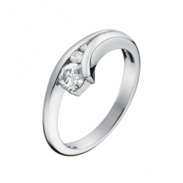 Palladium Three Stone Brilliant Cut Diamond Engagement Ring