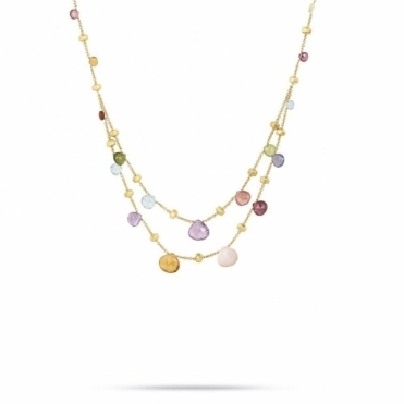 Paradise 18ct Gold Mixed Gem 2 Strand Graduated Necklace