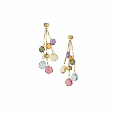 Paradise 18ct Gold Mixed Gem 3 Strand Short Drop Earrings