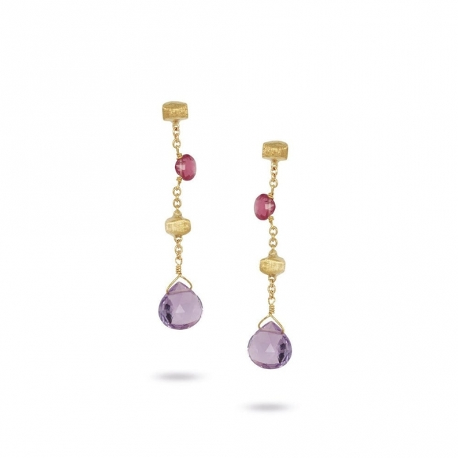 Paradise 18ct Gold Mixed Gem Short Drop Earrings