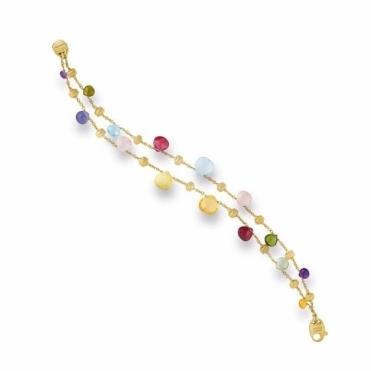 Paradise 18ct Gold Mixed Gem Two Strand Graduated Bracelet