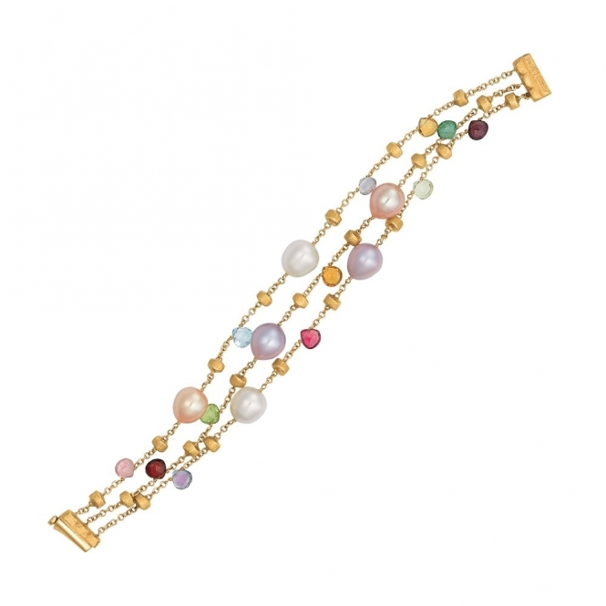 Paradise 18ct Yellow Gold 3 Strand Mixed Stone and Pearl Bracelet