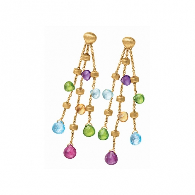 Paradise 18ct Yellow Gold Mixed Stone Drop Earrings