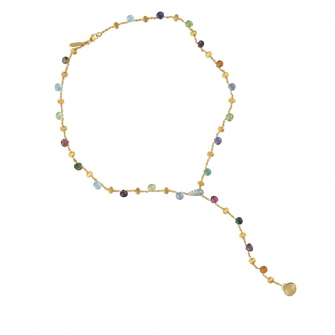 Paradise 18ct Yellow Gold Mixed Stone Lariat Necklace