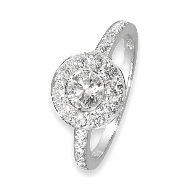 Pave Set Halo Style Ring