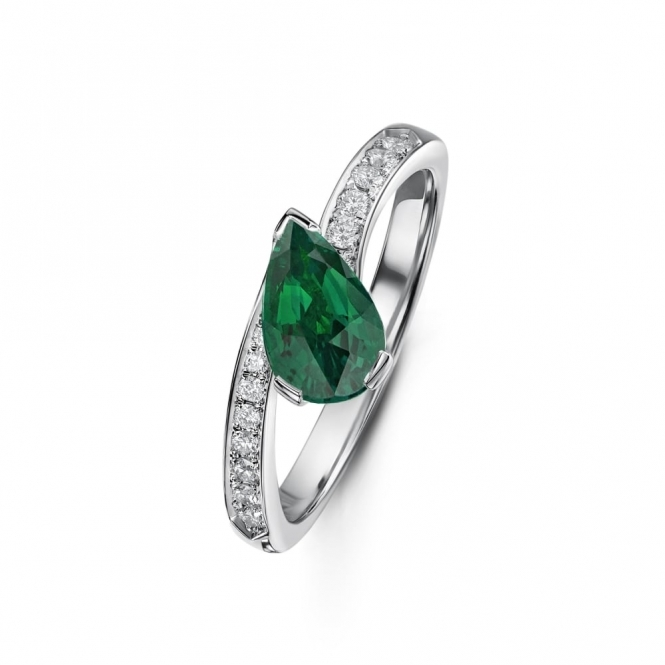 Pear shape Emerald and Diamond Crossover Ring