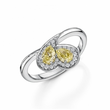 Pear shape fancy yellow diamond ring