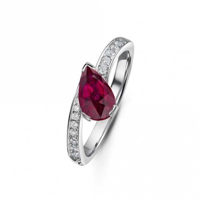 Pear shape Ruby and Diamond Crossover Ring