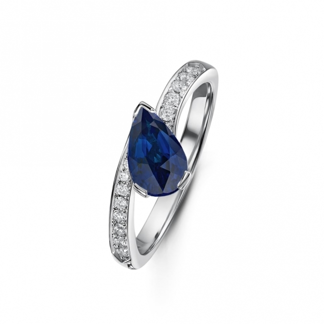 Pear shape Sapphire and Diamond Crossover Ring