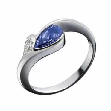 Pear Shape Tanzanite and Diamond Ring in 18 White Gold