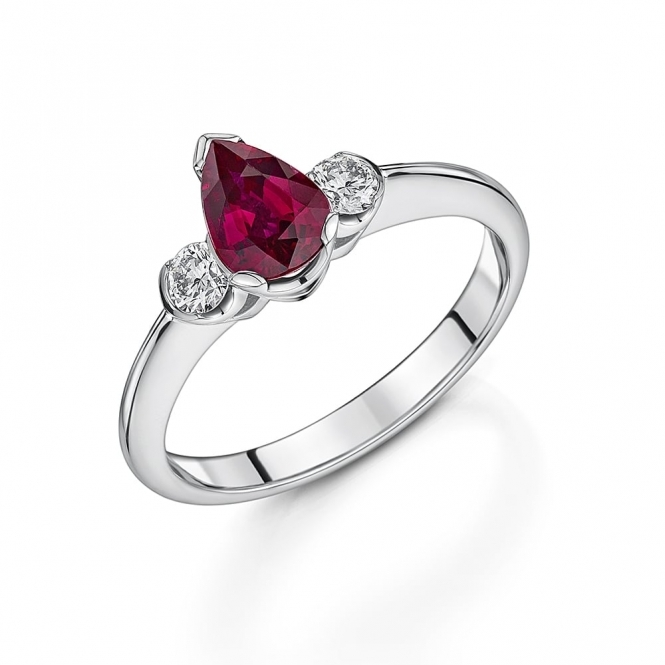 Pear Shaped Ruby and Diamond Ring