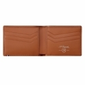 Perforated Leather Billfold for 6 Credit Cards in Camel