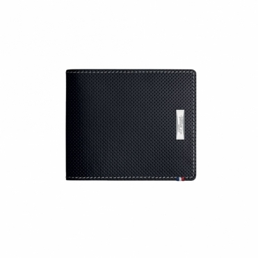Perforated Leather Billfold with 6 Credit Card in Black