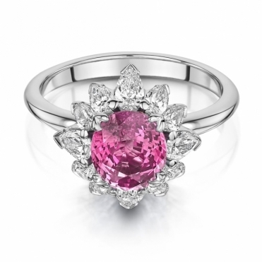 Pink Sapphire and Pear Diamond Cluster Ring