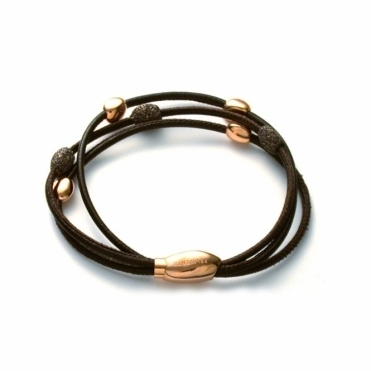 Pink Sterling Silver and Brown Leather Bracelet