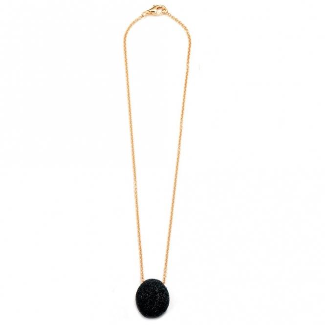Pink Sterling Silver Polvere di Sogni Black Glitter Necklace