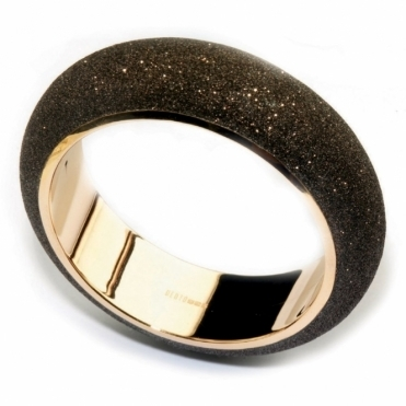 Pink Sterling Silver Polvere di Sogni Brown Glitter Bangle