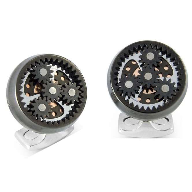 Planetary Cufflinks in Gun Metal and Carbon Fibre