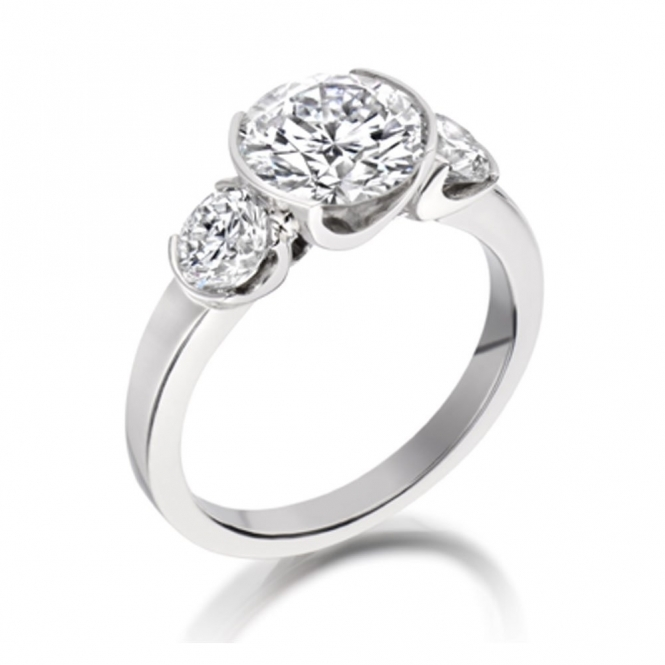Platinum 3 Stone Brilliant Cut Diamond Engagement Ring Design no. 1X51A