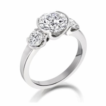 Platinum 3 Stone Brilliant Cut Diamond Engagement Ring Design no. 1X51A