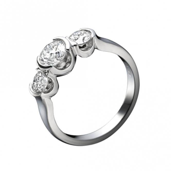 Platinum 3 Stone Brilliant Cut Diamond Engagement Ring