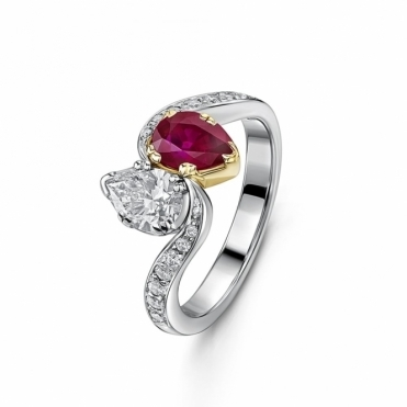 Platinum and 18ct Yellow Gold, Ruby & Diamond Crossover Ring