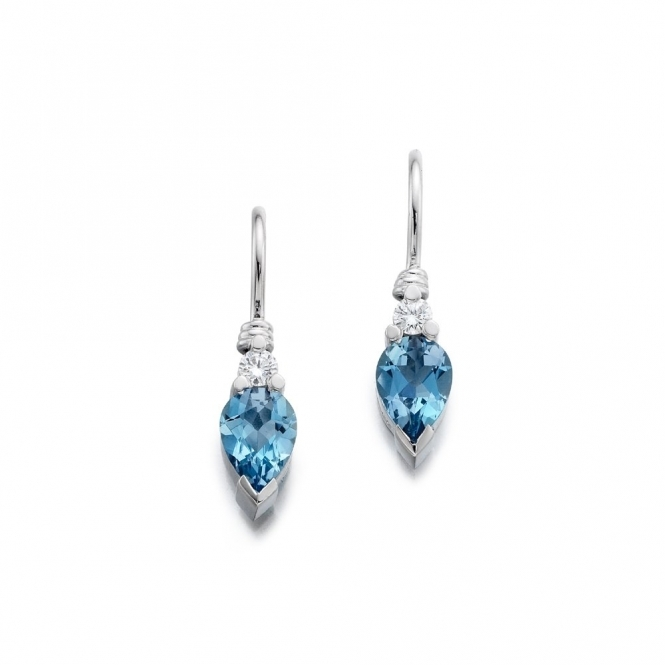 Platinum Aquamarine & Diamond set Earrings.  Design No. 1U47A