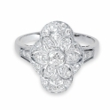 Platinum art deco style diamond cluster ring