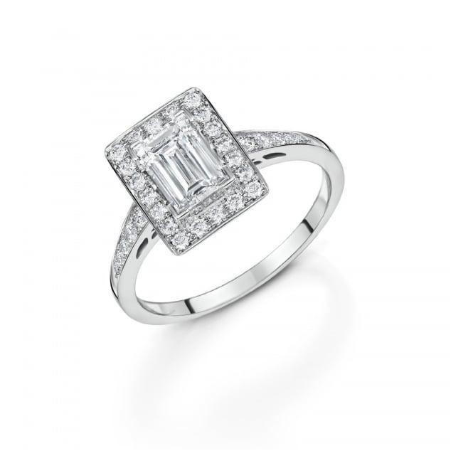 Platinum Baguette Diamond Cluster Ring