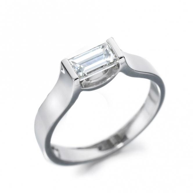 Platinum Baguette Diamond Solitaire Ring 1T01A