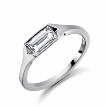 Platinum Baguette Diamond Solitaire Ring 1V70A