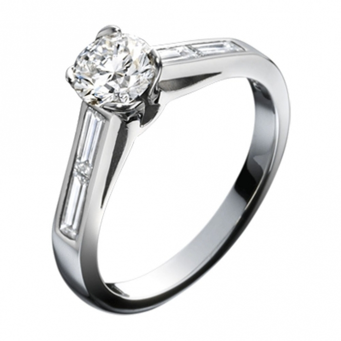 Platinum Brilliant Cut and Baguette Diamond Engagement Ring