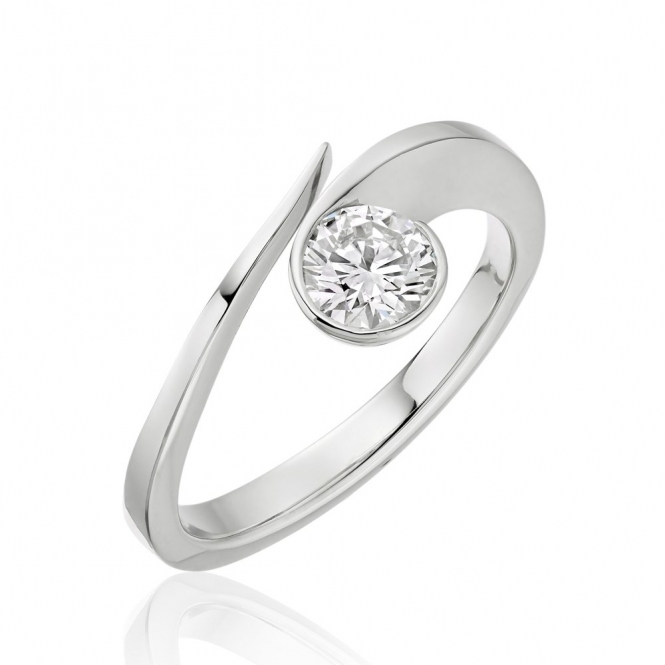 Platinum Brilliant Cut Diamond Swirl Ring
