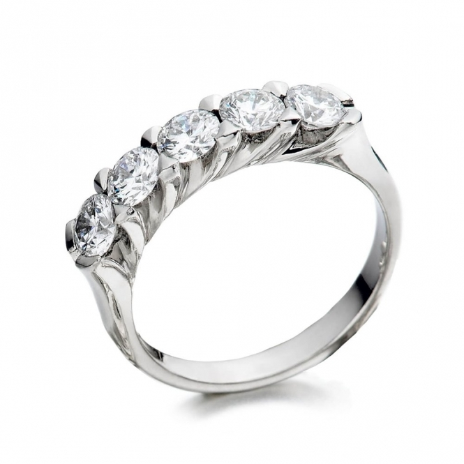 Platinum Brilliant Cut Five Stone Ring