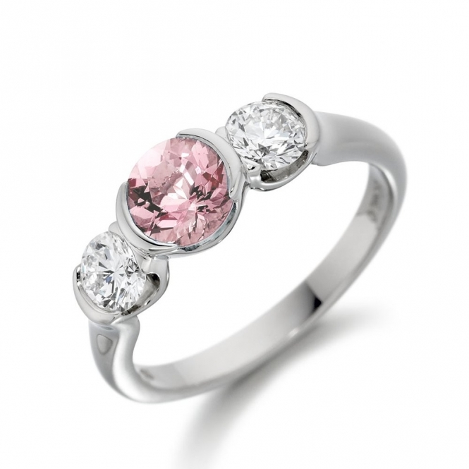 Platinum Brilliant Cut Morganite & Diamond Ring 1U23A