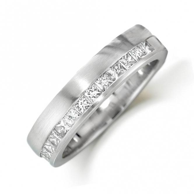 Platinum Channel Set Princess Cut Diamond Ring