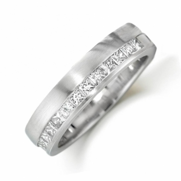 Platinum Channel Set Princess Cut Diamond Ring