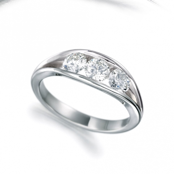 Platinum Channel Set Three Stone Diamond Ring