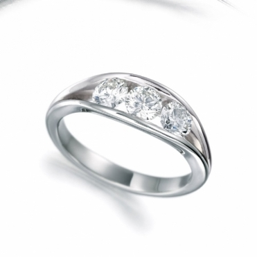Platinum Channel Set Three Stone Diamond Ring