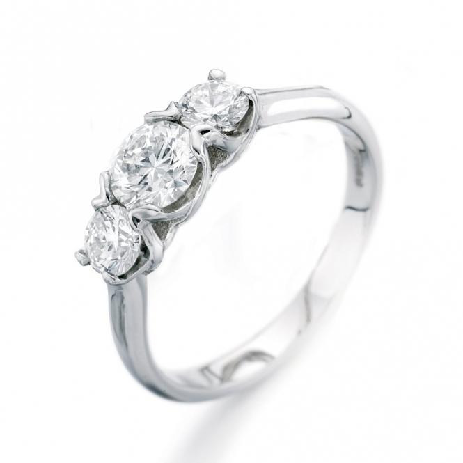 Platinum Claw Set Diamond Three Stone Ring