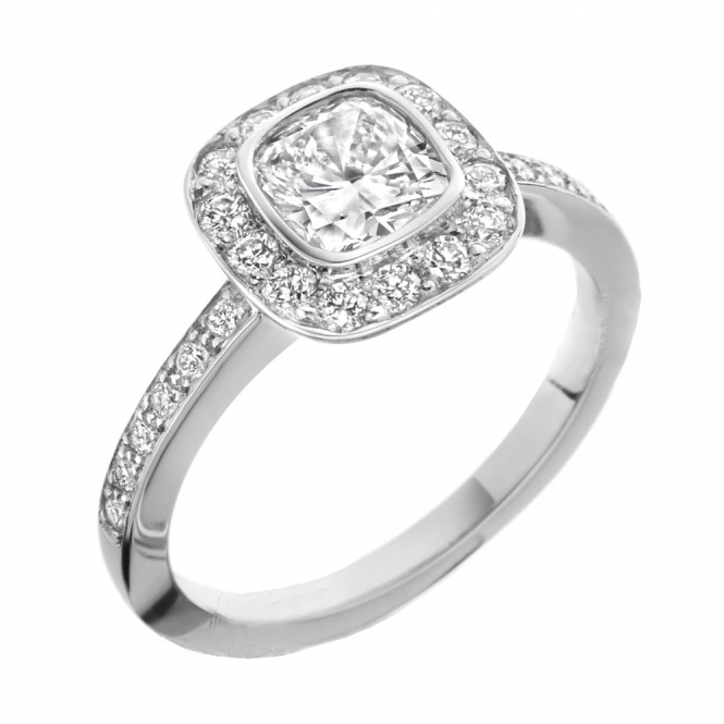 Platinum Cushion Diamond Halo Ring