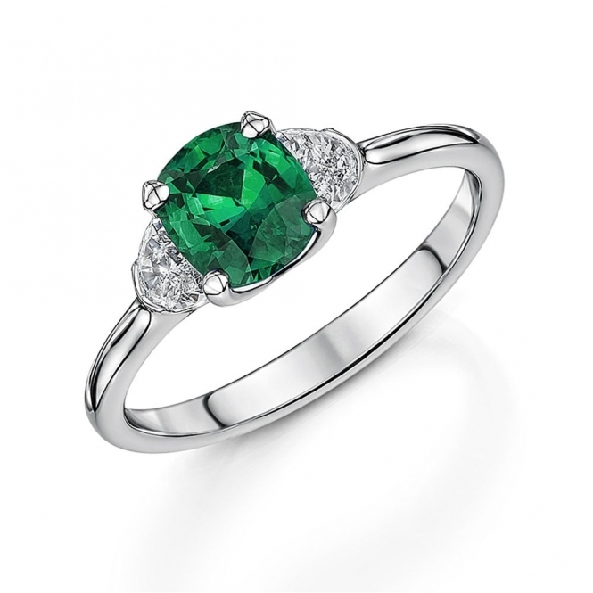Platinum Cushion Emerald & Diamond Ring