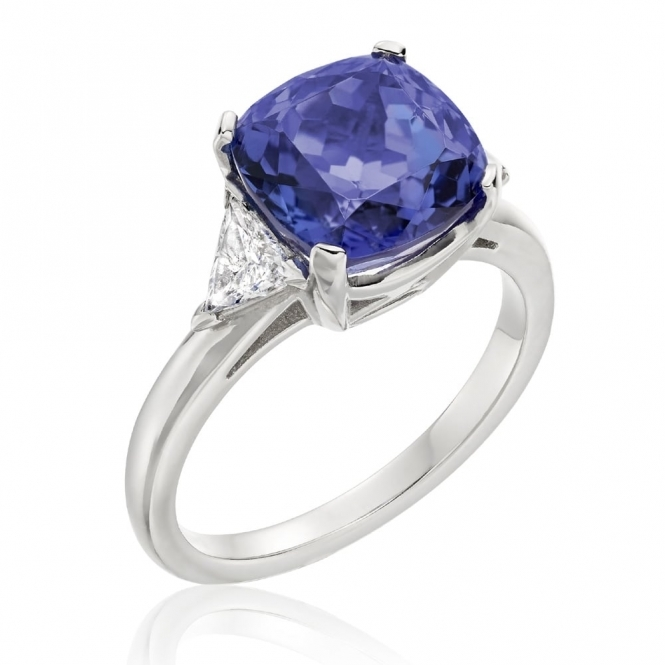 Platinum Cushion Tanzanite and Diamond Ring