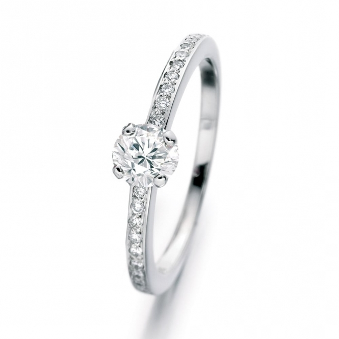 Platinum Diamond set shoulder Ring