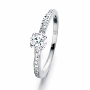 Platinum Diamond set shoulder Ring