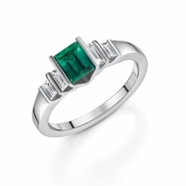 Platinum Emerald and Diamond Five Stone Ring