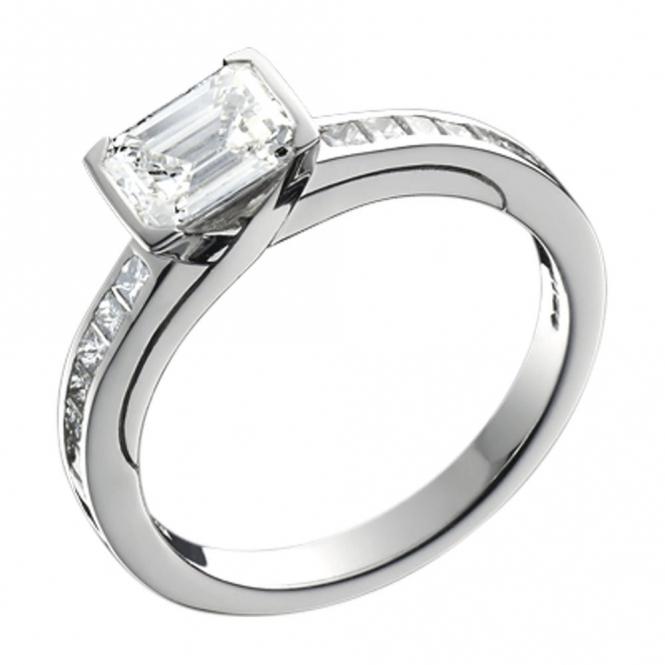 platinum emerald and princess cut engagement ring